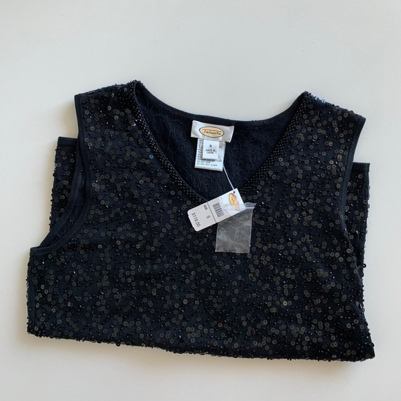 Talbots Tops - New Talbots Black Casual Sequin Top S